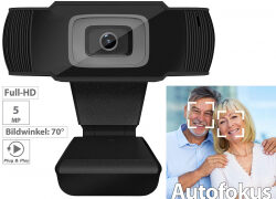 Somikon Full-HD-USB-Webcam mit 5 MP, Autofokus & Mikrofon